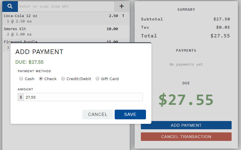 Add a payment to point of sale transaction