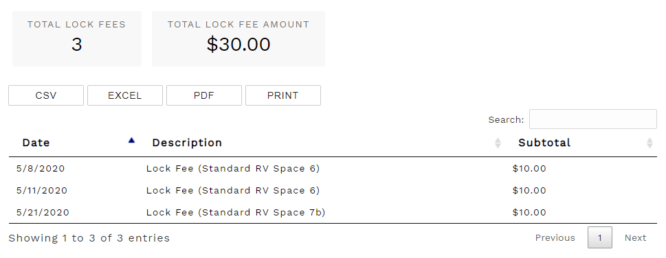 Reports - Lock Fees