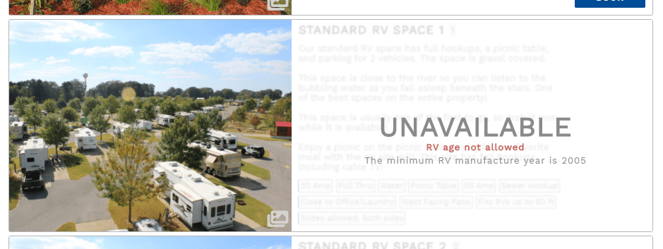 Unit is unavailable due to RV age minimum not met