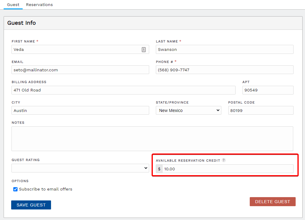 Add credit to a guest for use on a later reservation