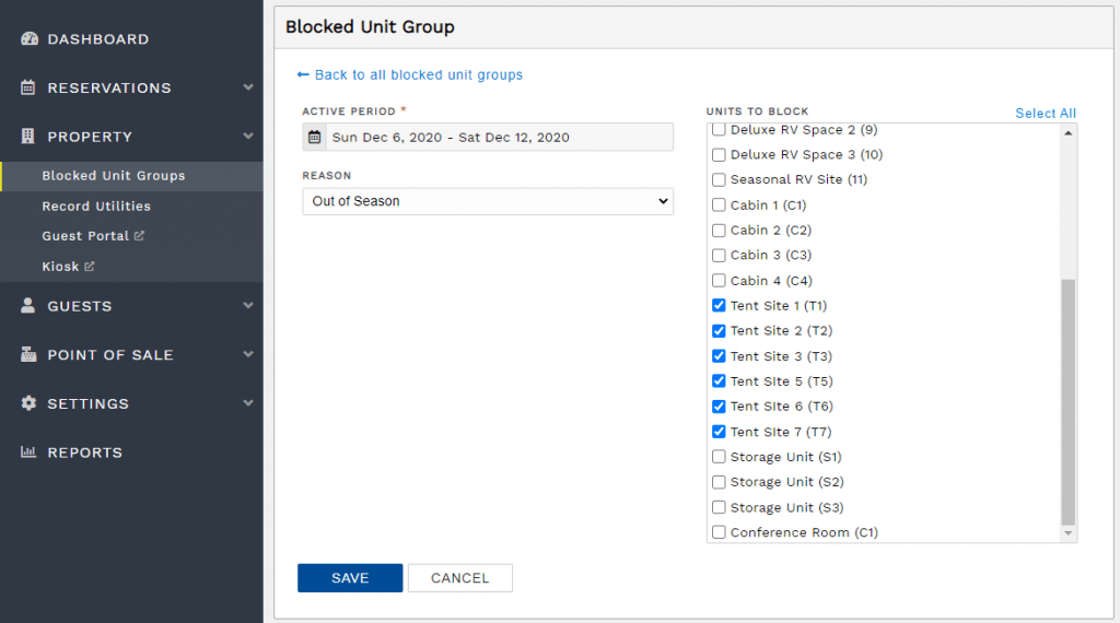 Create a new blocked unit group