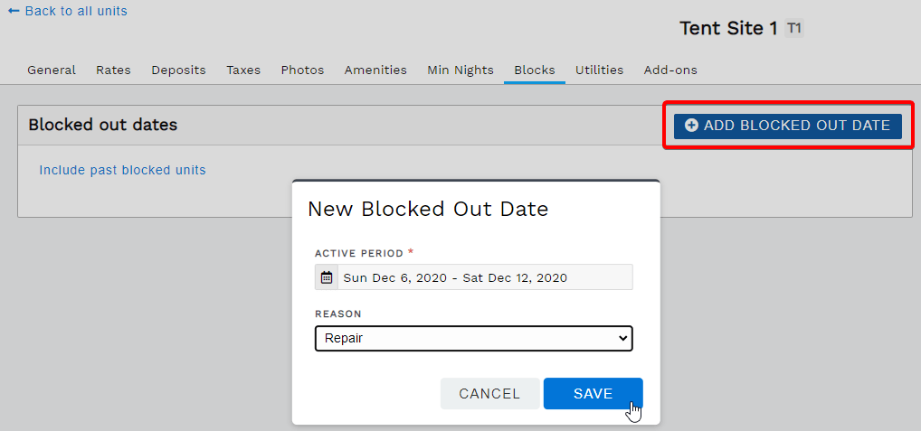 Add blocked out date range to a single unit