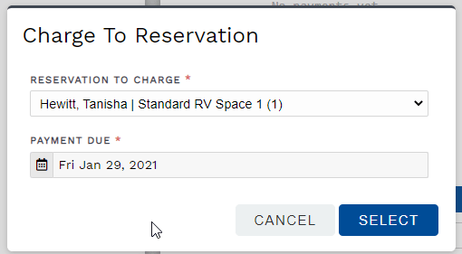 Options dialog to charge pos transaction to reservation