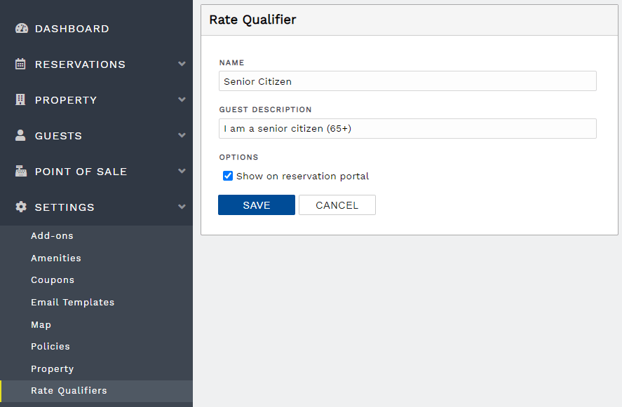 Create a new rate qualifier