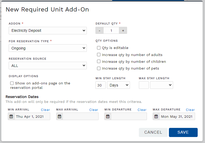 Create a new required add-on for a reservation