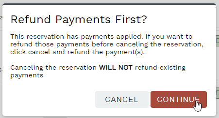 Cancel reservation with payments confirmation