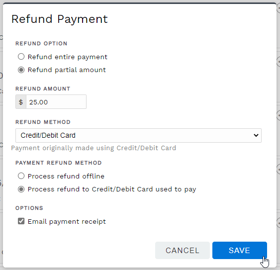 Refund payment options