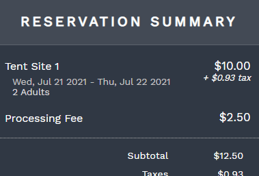Reservation fee on the reservation portal summary