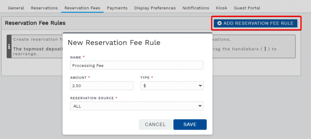 New reservation fee rule