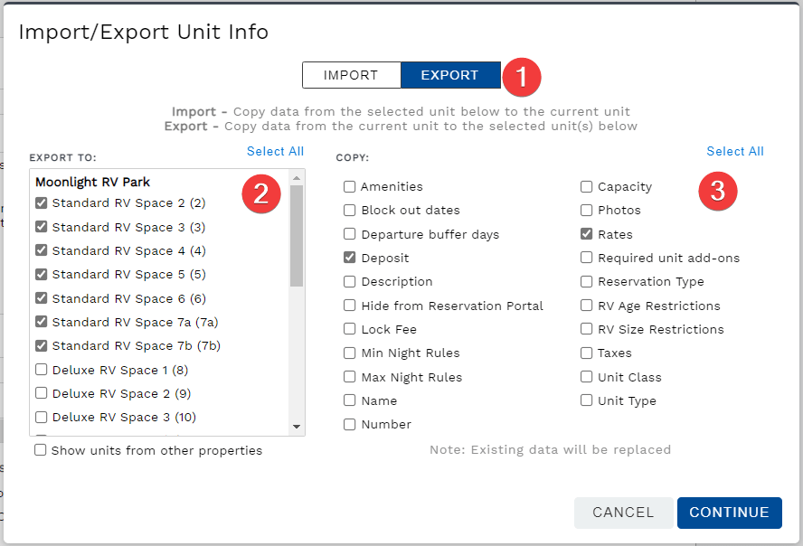 Import or export unit settings